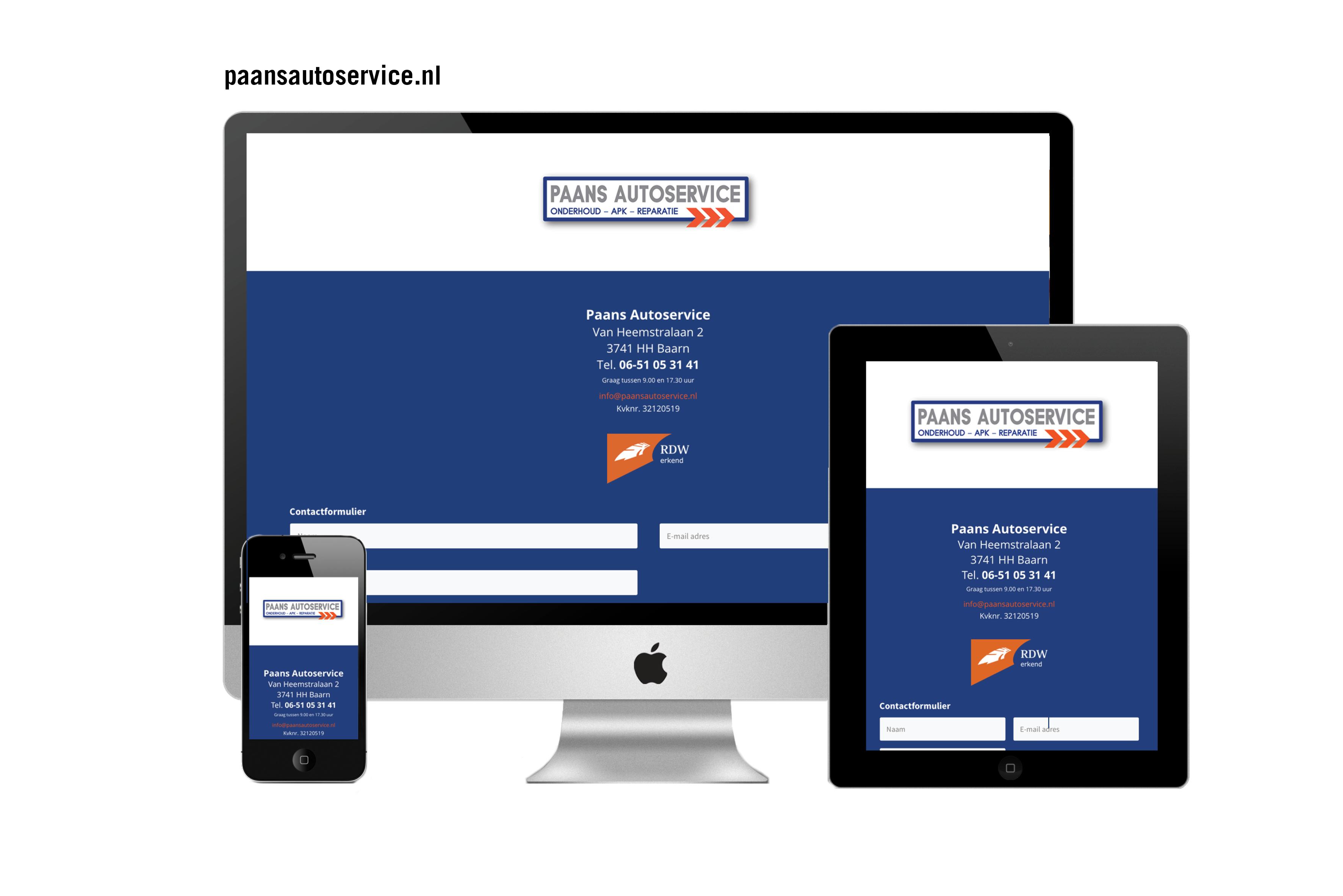 Website Paans Autoservice Baarn